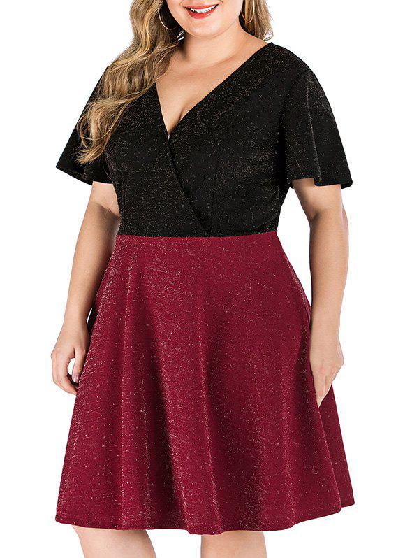 Plus Size Plongeant Two Tone Dress Glitter - Rouge Vineux 3X