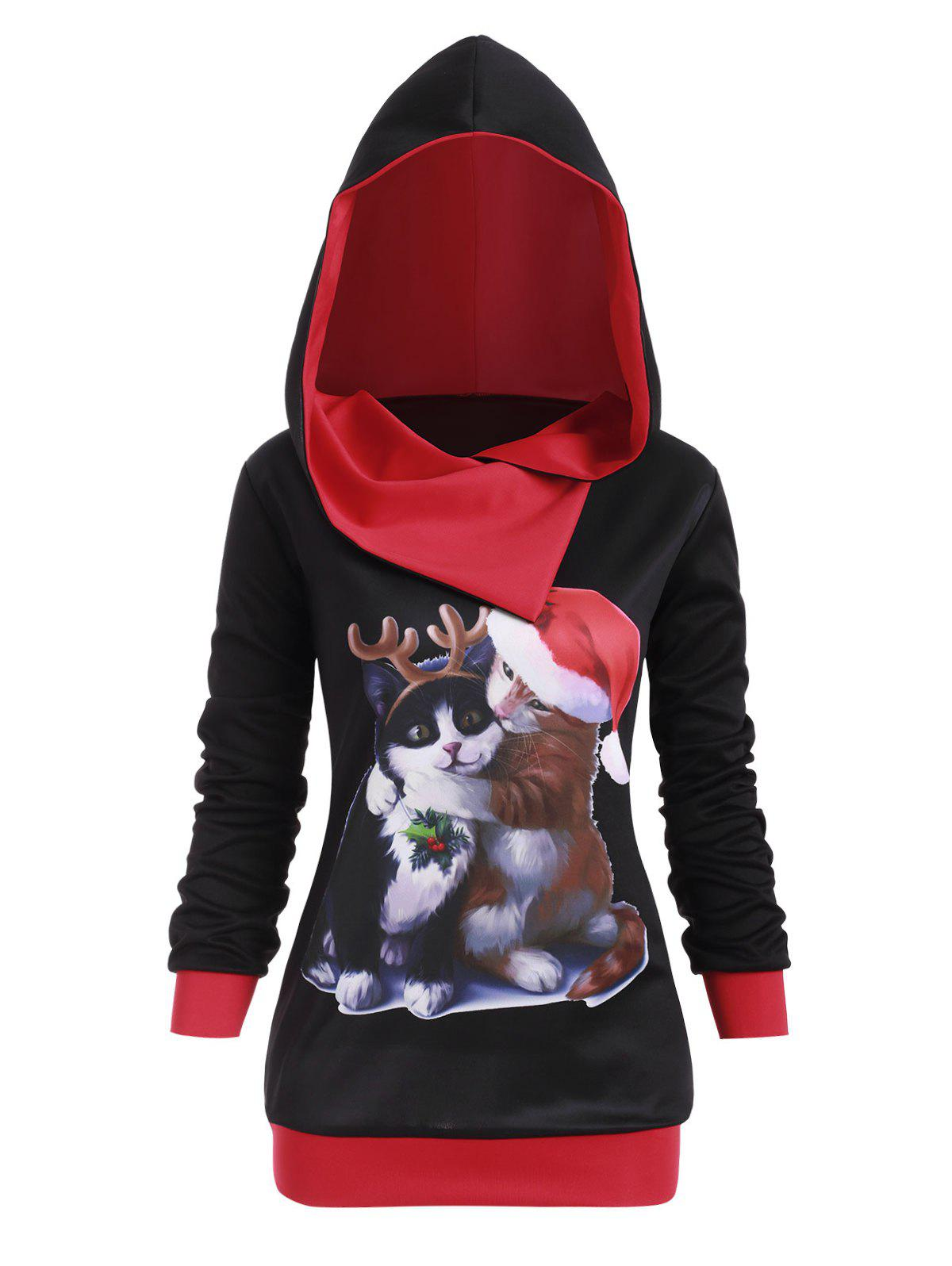 Surplice Hooded Cat Graphic Plus Size Christmas Hoodie - BLACK L