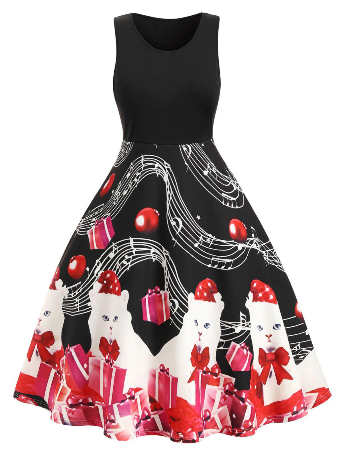 Musical Note Cat Gift Print Plus Size Vintage Dress - BLACK 4X