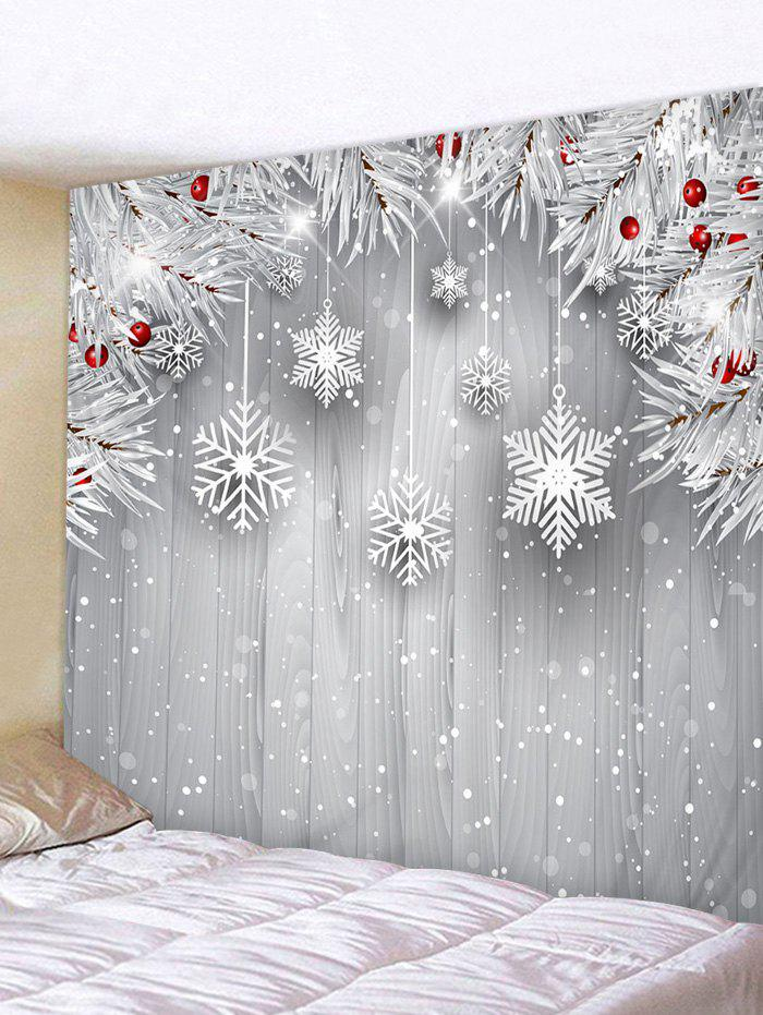 Christmas Tree Branch Snowflake Print Wall Tapestry - multicolor W79 X L59 INCH