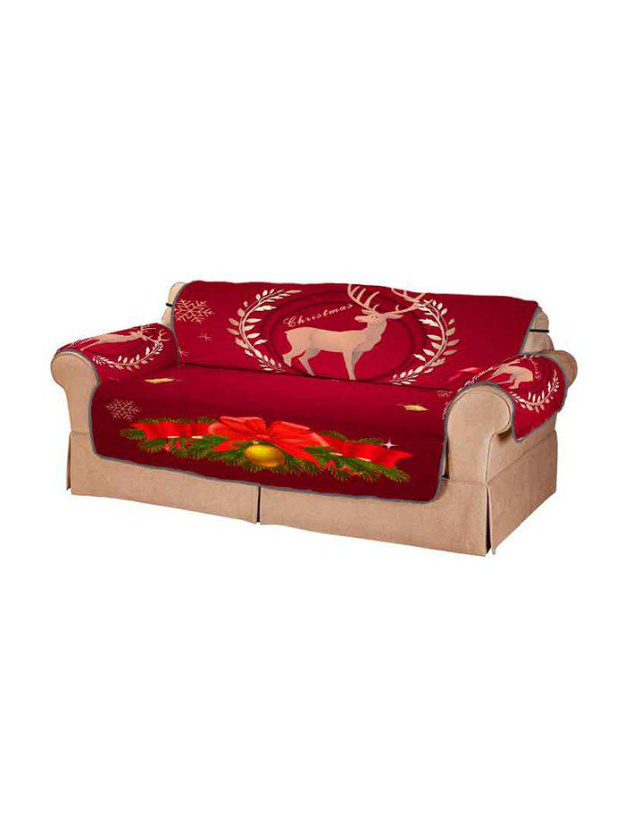 Christmas Deer Pattern Design Couch Cover - multicolor TWO SEATS