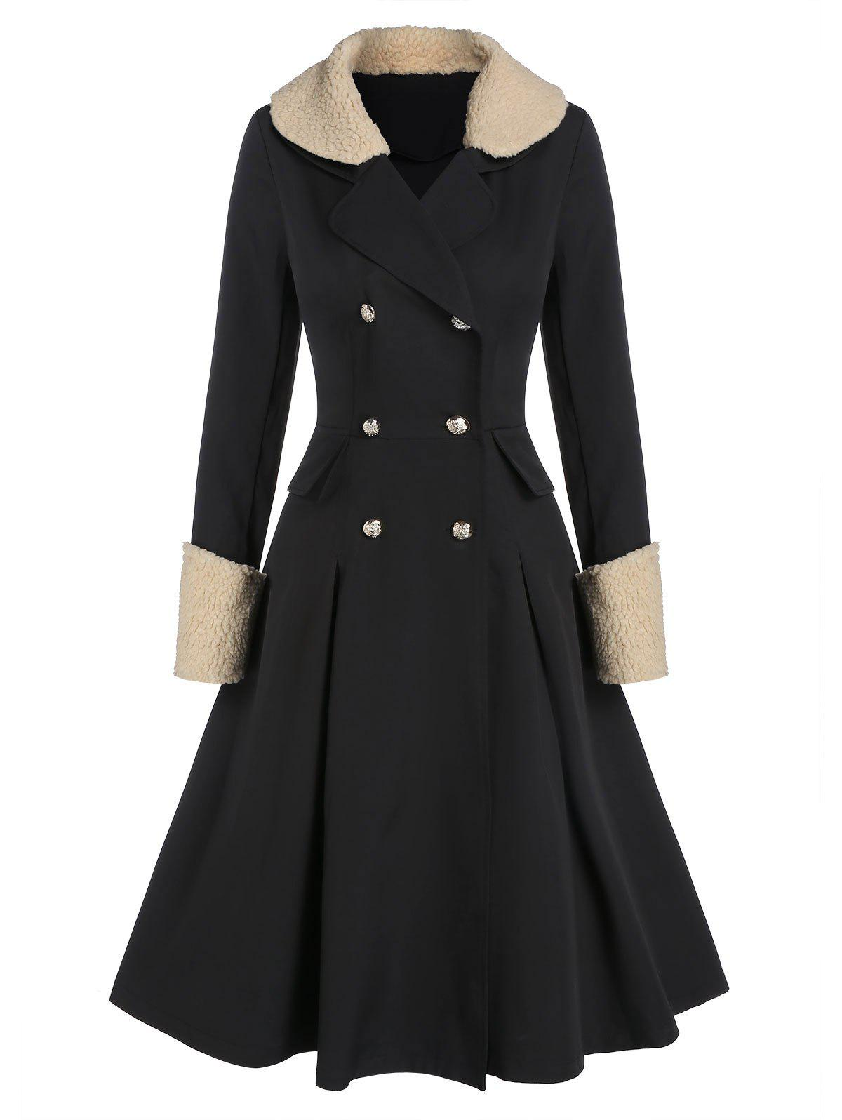 Faux Shearling Collar Double Breasted Skirted Knee Length Coat - BLACK L