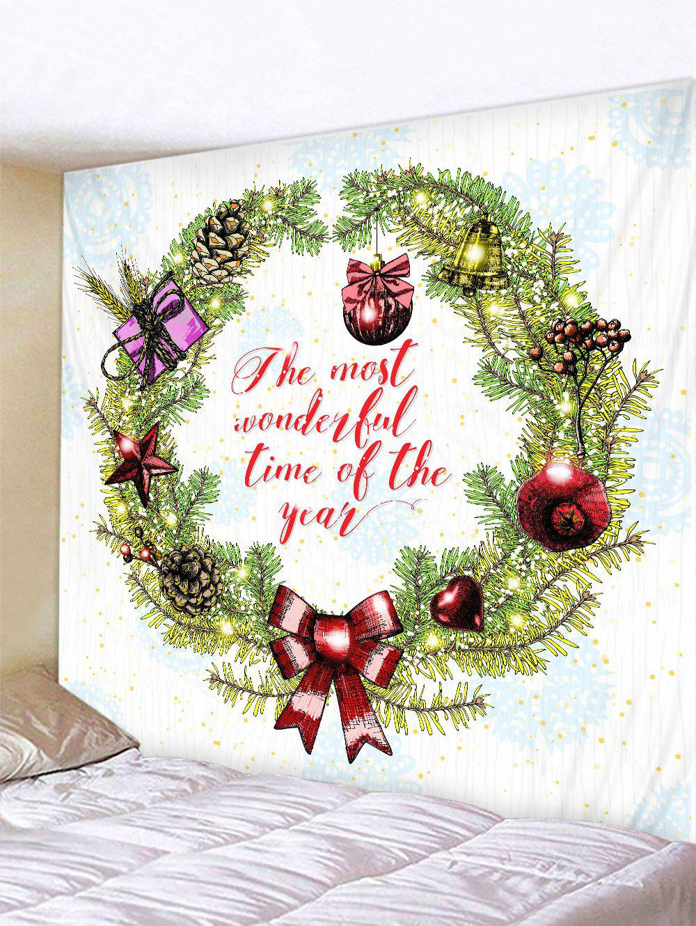 Christmas Garland Letter Pattern Print Wall Art Tapestry - multicolor W91 X L71 INCH