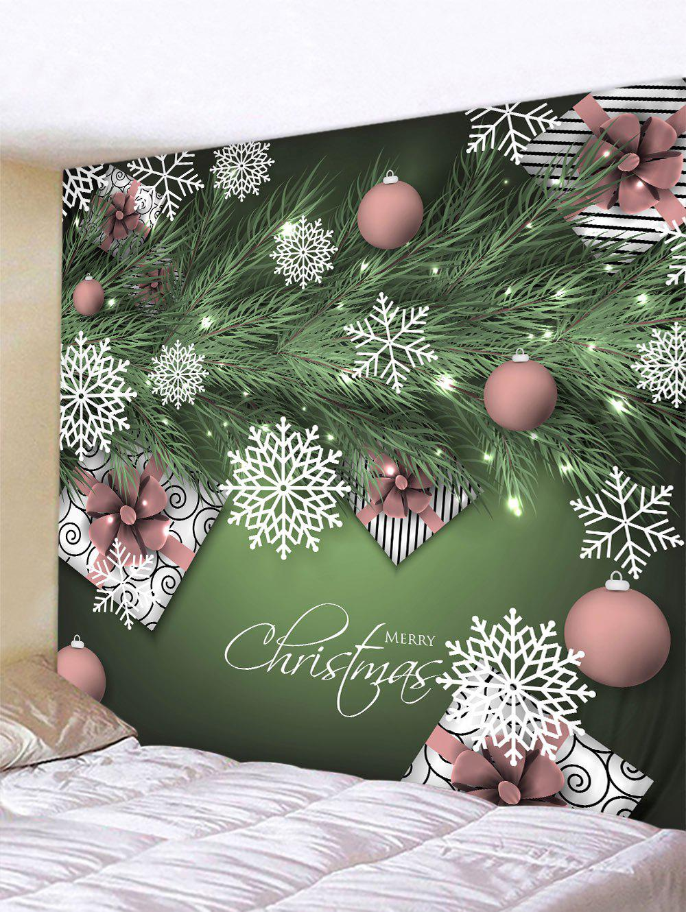Christmas Snowflake Ball Print Hanging Wall Tapestry - multicolor W91 X L71 INCH