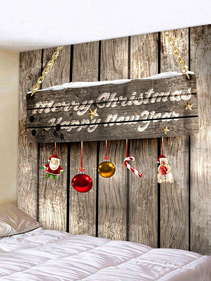 Christmas Wood Door 3D Print Wall Tapestry - multicolor W91 X L71 INCH