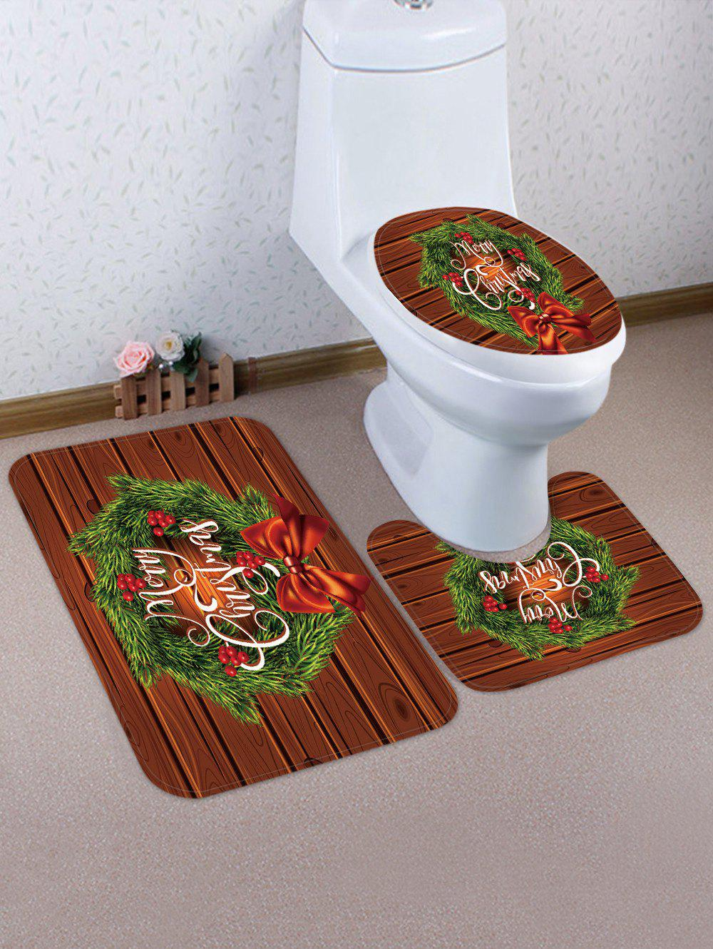 Christmas Flower Pattern 3 Pcs Bathroom Toilet Mat - multicolor
