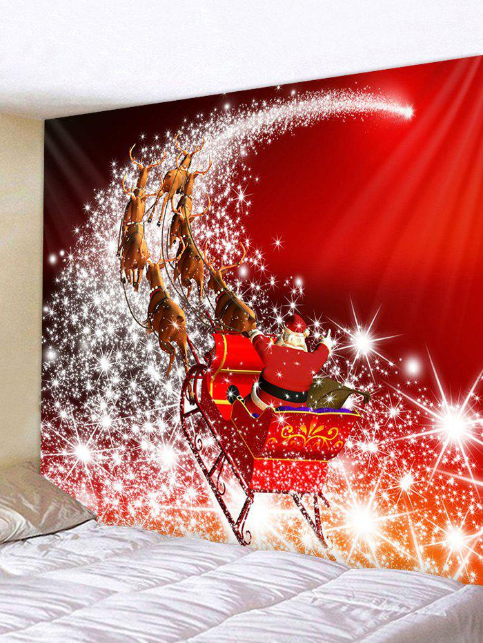 Christmas Santa Starry Road Print Wall Decor Tapestry - multicolor W71 X L71 INCH