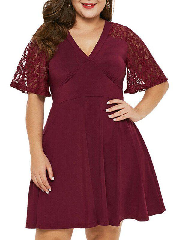 Plus Size Lace Sleeve A Line Dress - RED WINE 5X