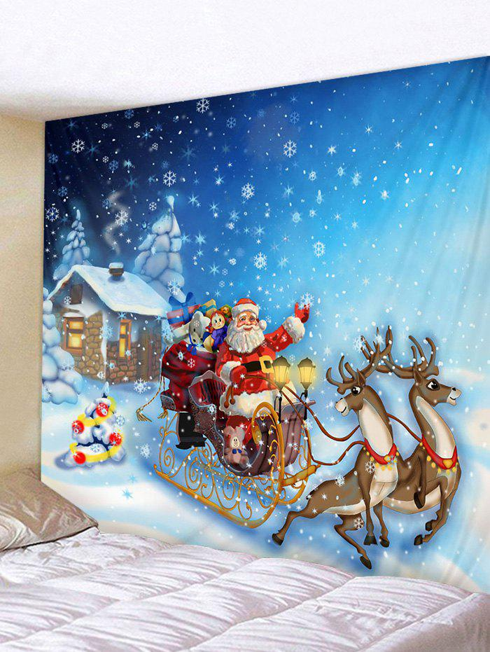 Cartoon Santa Claus Print Christmas Tapestry - multicolor W59 X L59 INCH