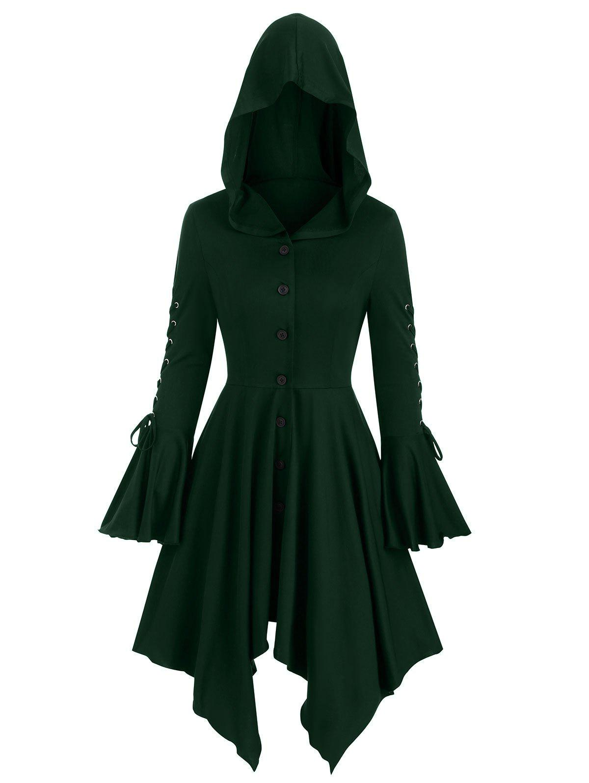 Hooded Lace-up Poet Sleeve Button Up Hanky Hem Skirted Gothic Coat - DARK FOREST GREEN 2XL