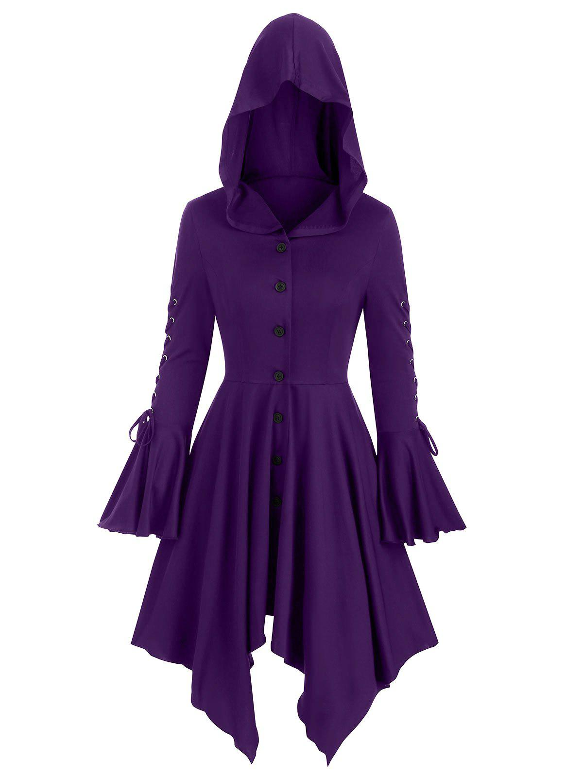 Hooded Lace-up Poet Sleeve Button Up Hanky Hem Skirted Gothic Coat - PURPLE IRIS L