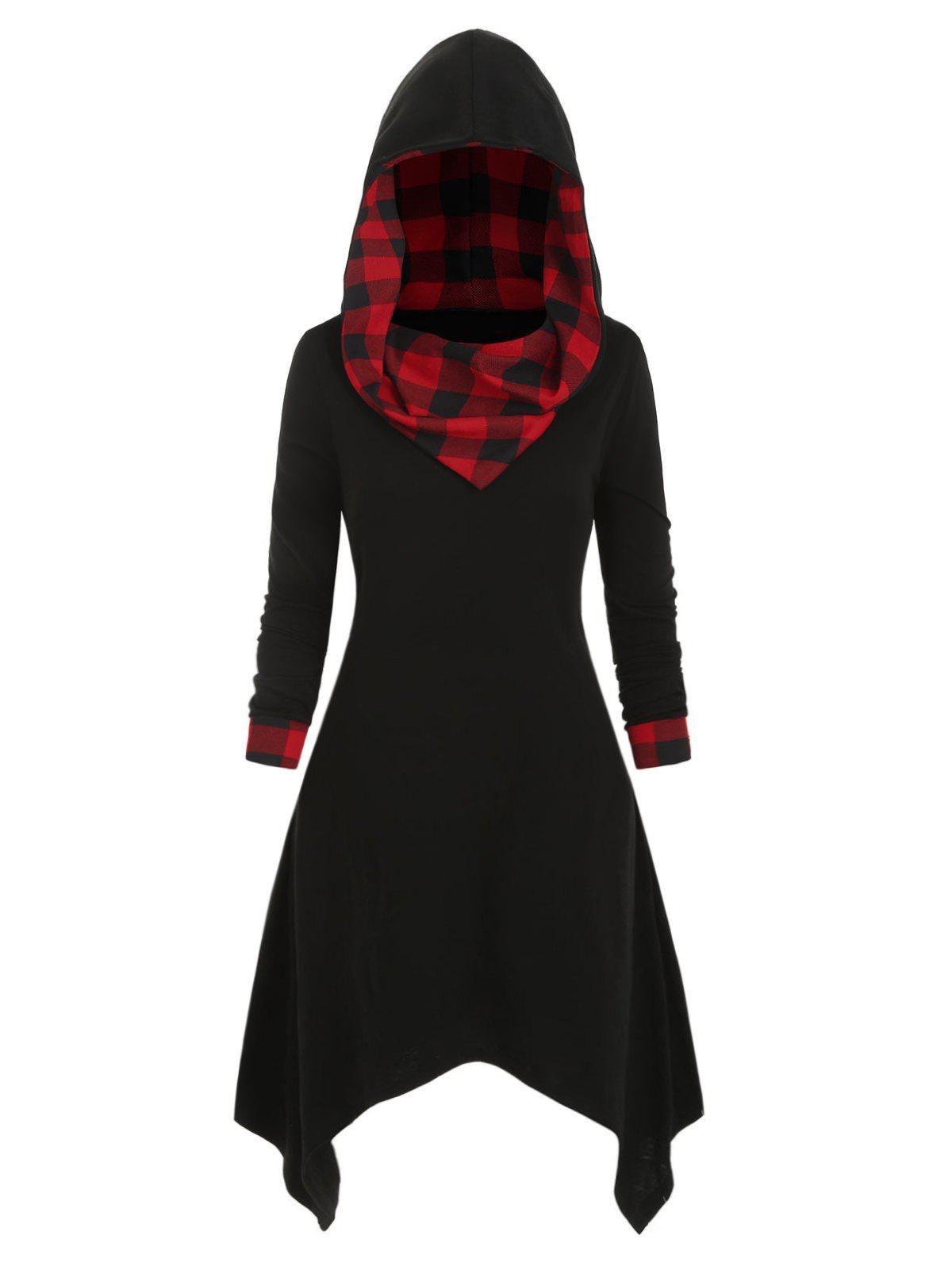 Plus Size Plaid Hanky Hem Hoodie Dress - BLACK 3X