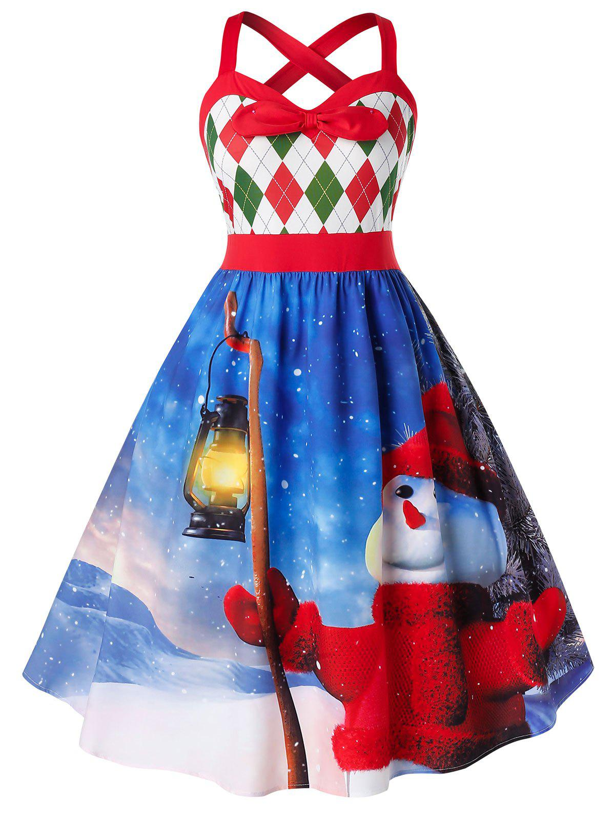 Plus Size Snowman Print High Waist Fit And Flare Dress - BLUEBERRY BLUE 1X