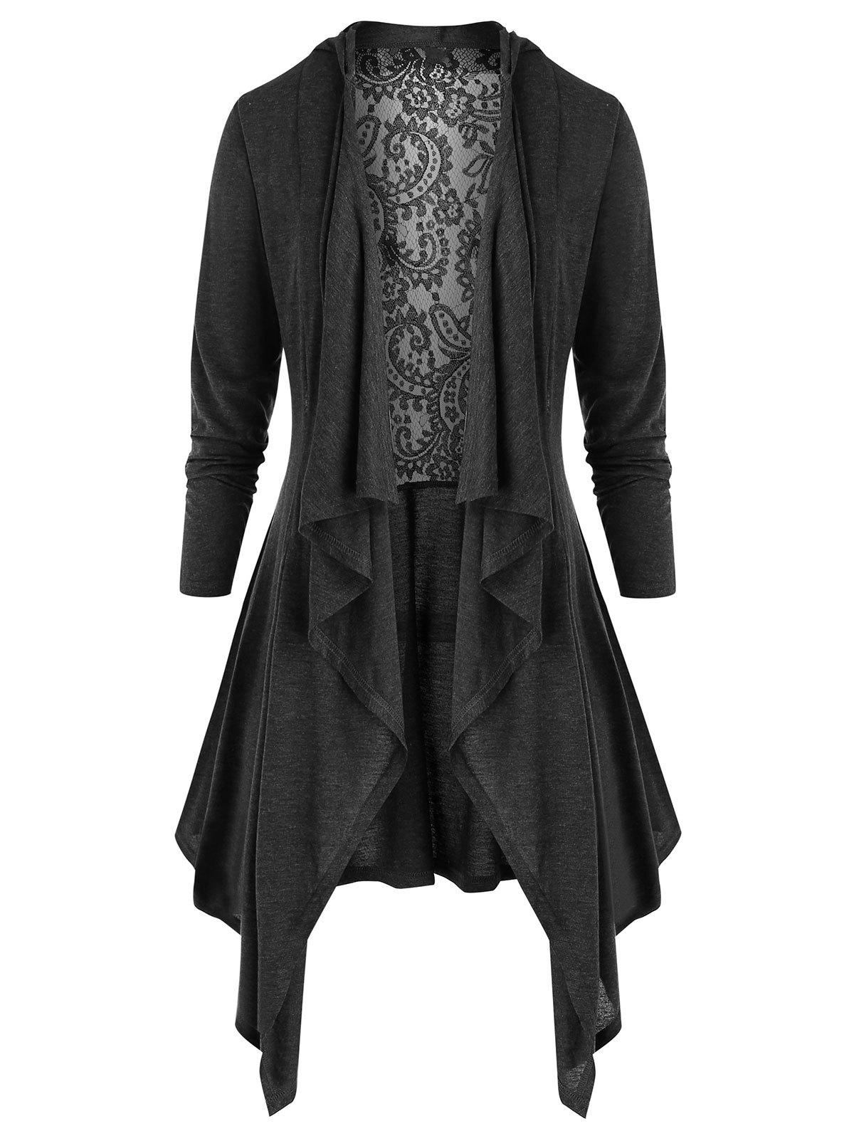 Plus Size Lace Insert Hooded Asymmetric Cardigan - BATTLESHIP GRAY L