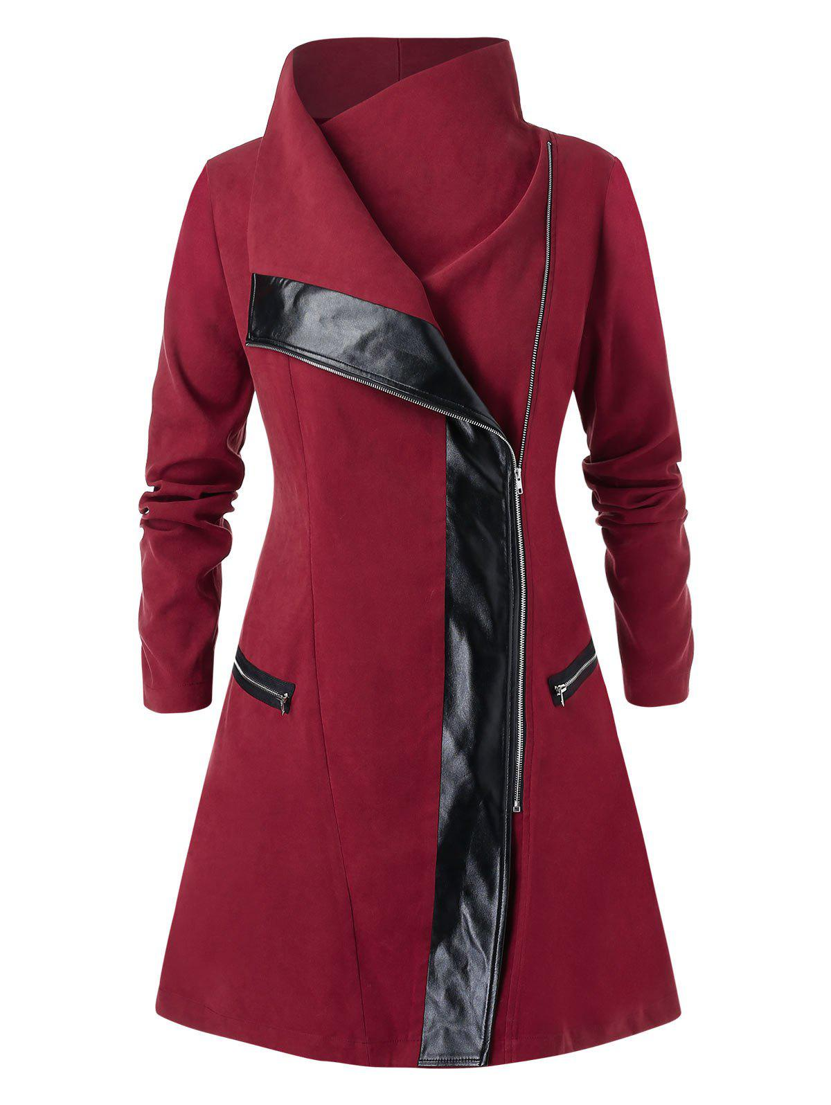 Plus Size Zipper Fly High Collar Contrast Coat - LAVA RED L