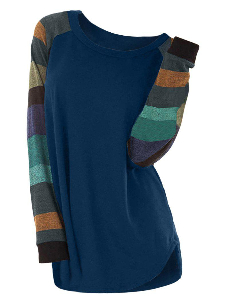 Plus Size Color-blocking Sleeve Longline T Shirt - BLUE 1X