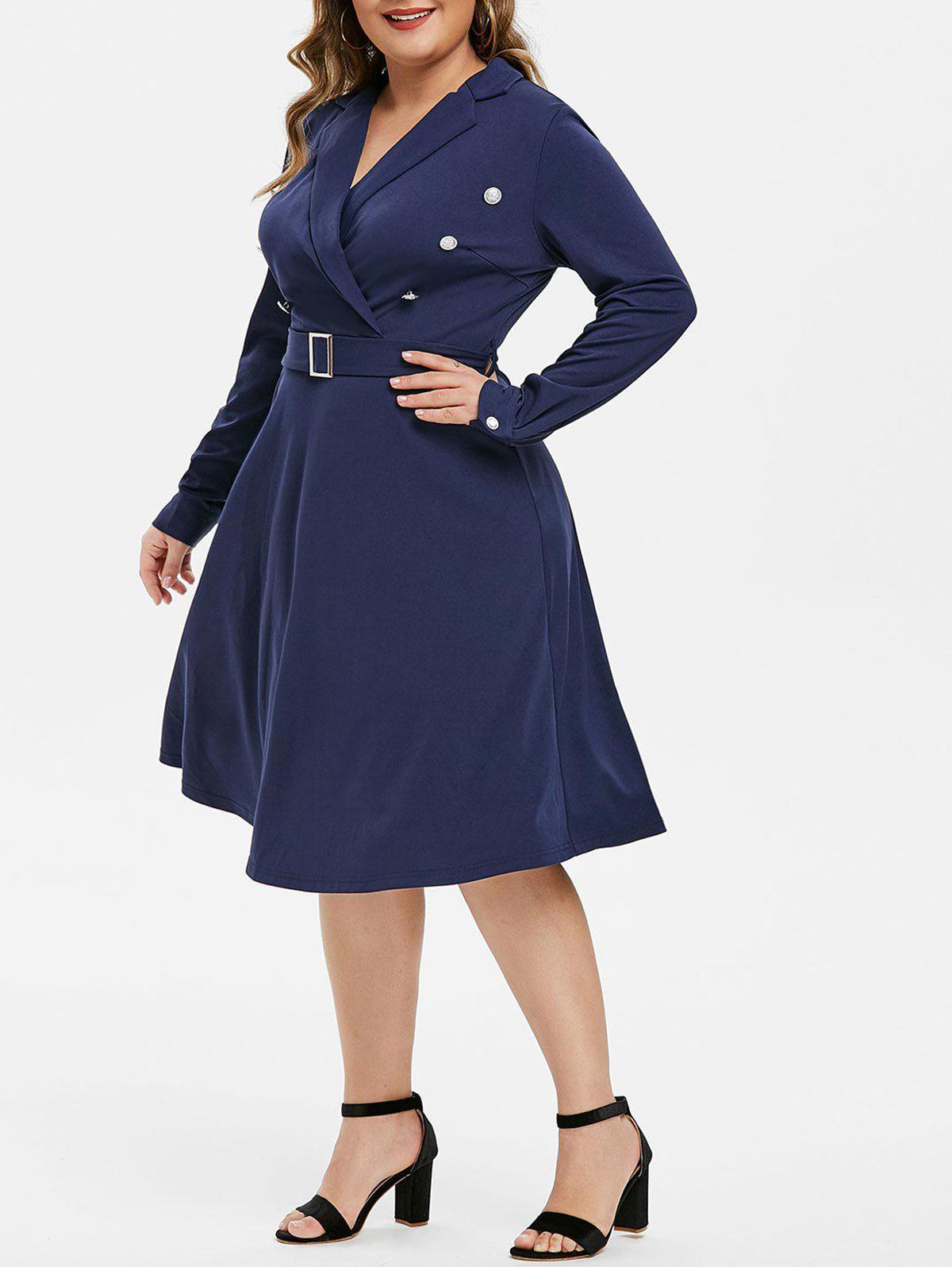 Plus Size Lapel Buttons A Line Dress - CADETBLUE L