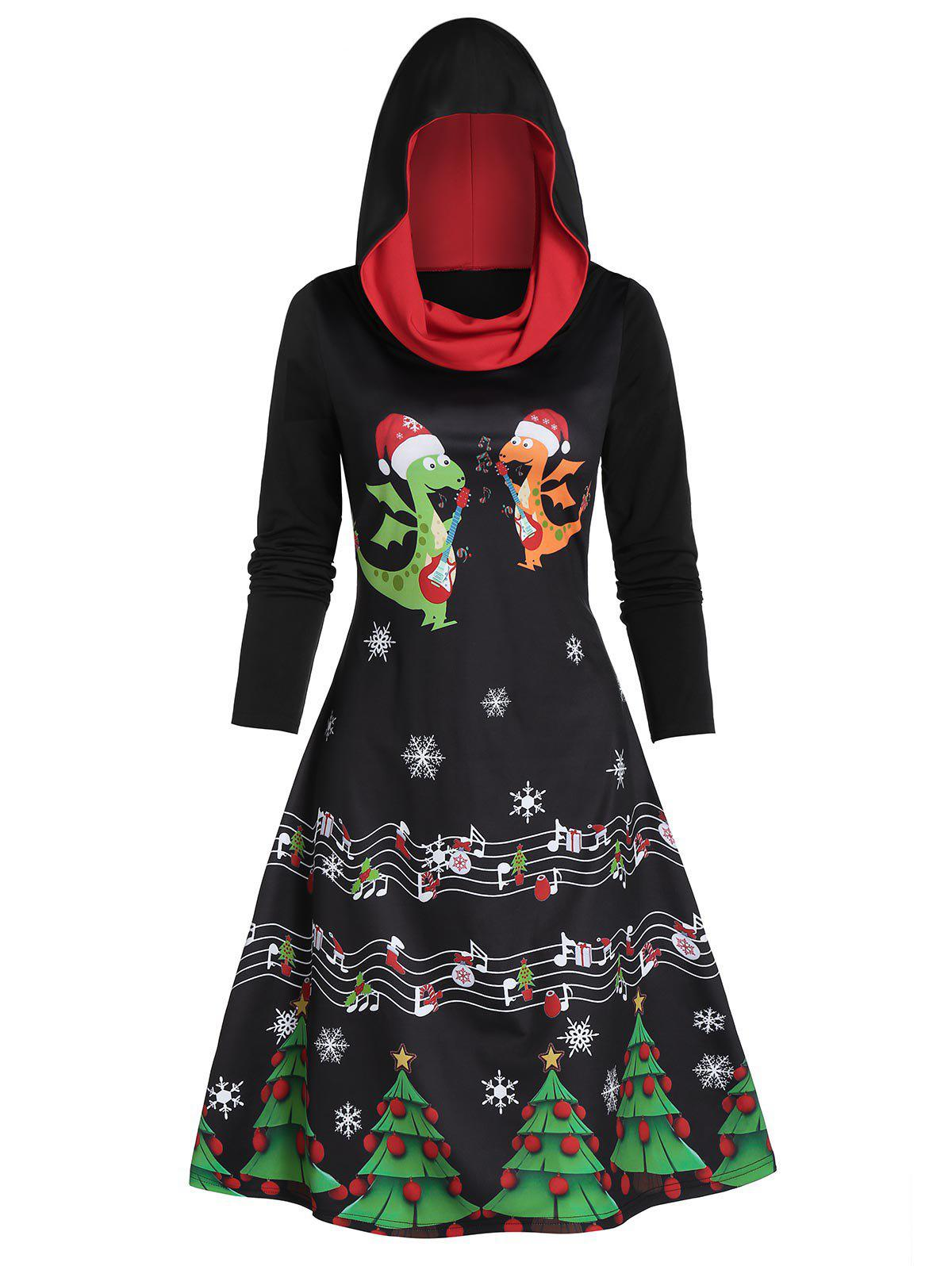 Snowflake Animal Print Hooded A Line Dress - BLACK XL