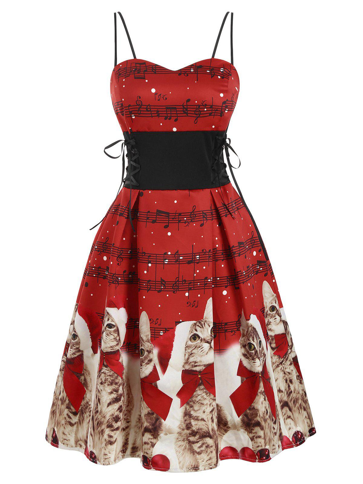 Christmas Musical Note Cat Lace Up Party Dress - RED L