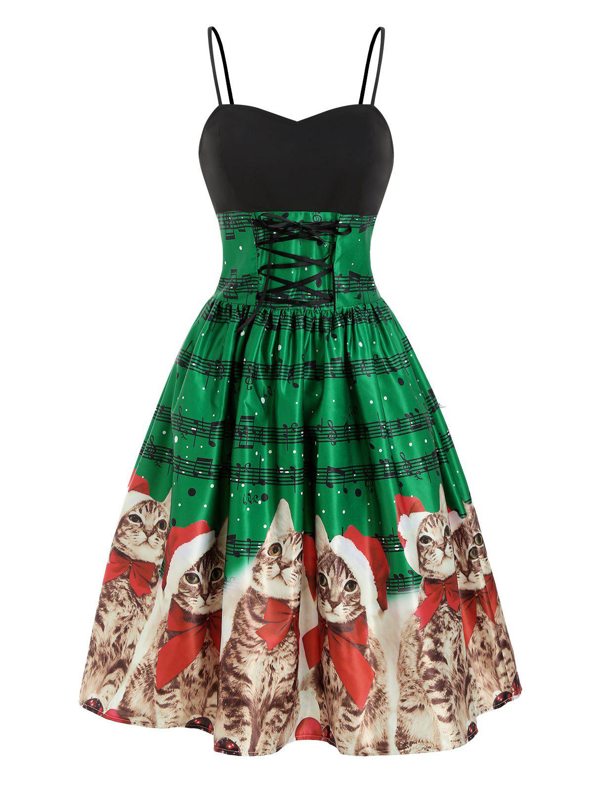 Christmas Cat Musical Note Lace Up Cami Dress - multicolor L