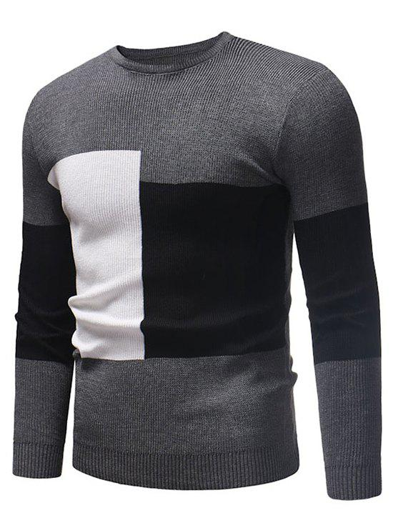 Color Blocking Spliced Pullover Sweater - GRAY XS