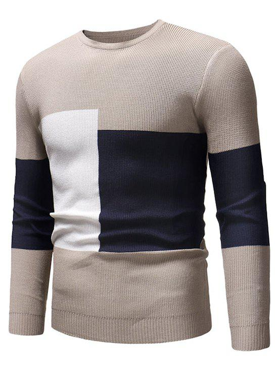 Color Blocking Spliced Pullover Sweater - APRICOT XS