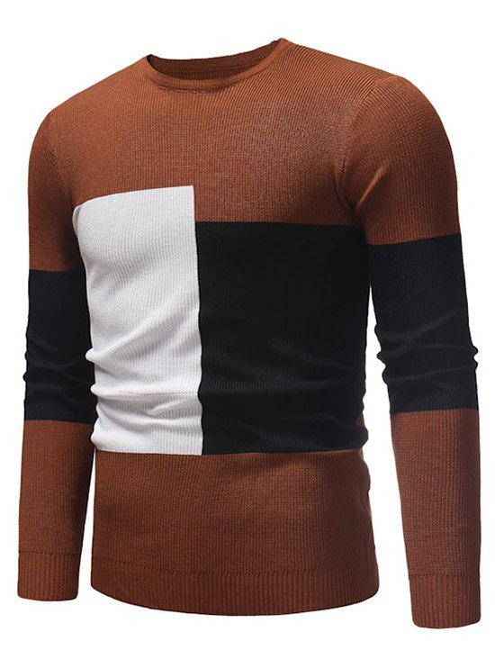 Color Blocking Spliced Pullover Sweater - CARAMEL XS