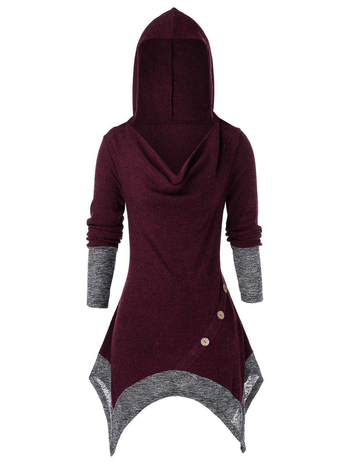 Plus Size Hooded Cowl Front Asymmetrical Knit Sweater - CHERRY RED 3X