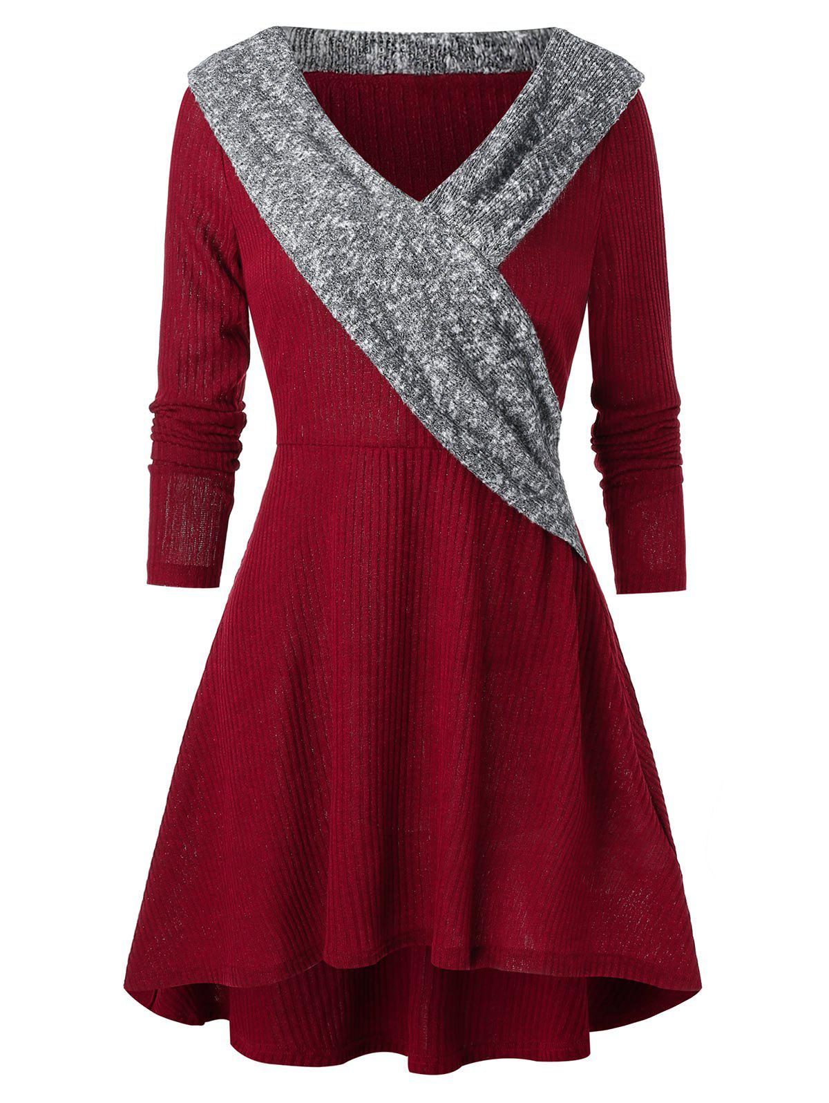 Collier Fit et Flare Tricoté V Casual Dress - Rouge Vineux 3XL
