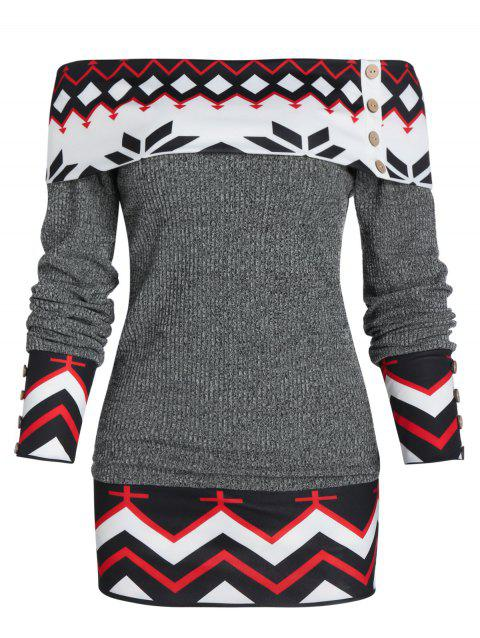 Geometric Off The Shoulder Foldover Knitted Sweater - GRAY 3XL