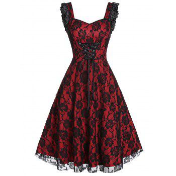 lace-up a line sweetheart collar rose lace dress