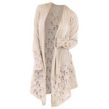 Plus Size Lace Insert Open Front Cardigan