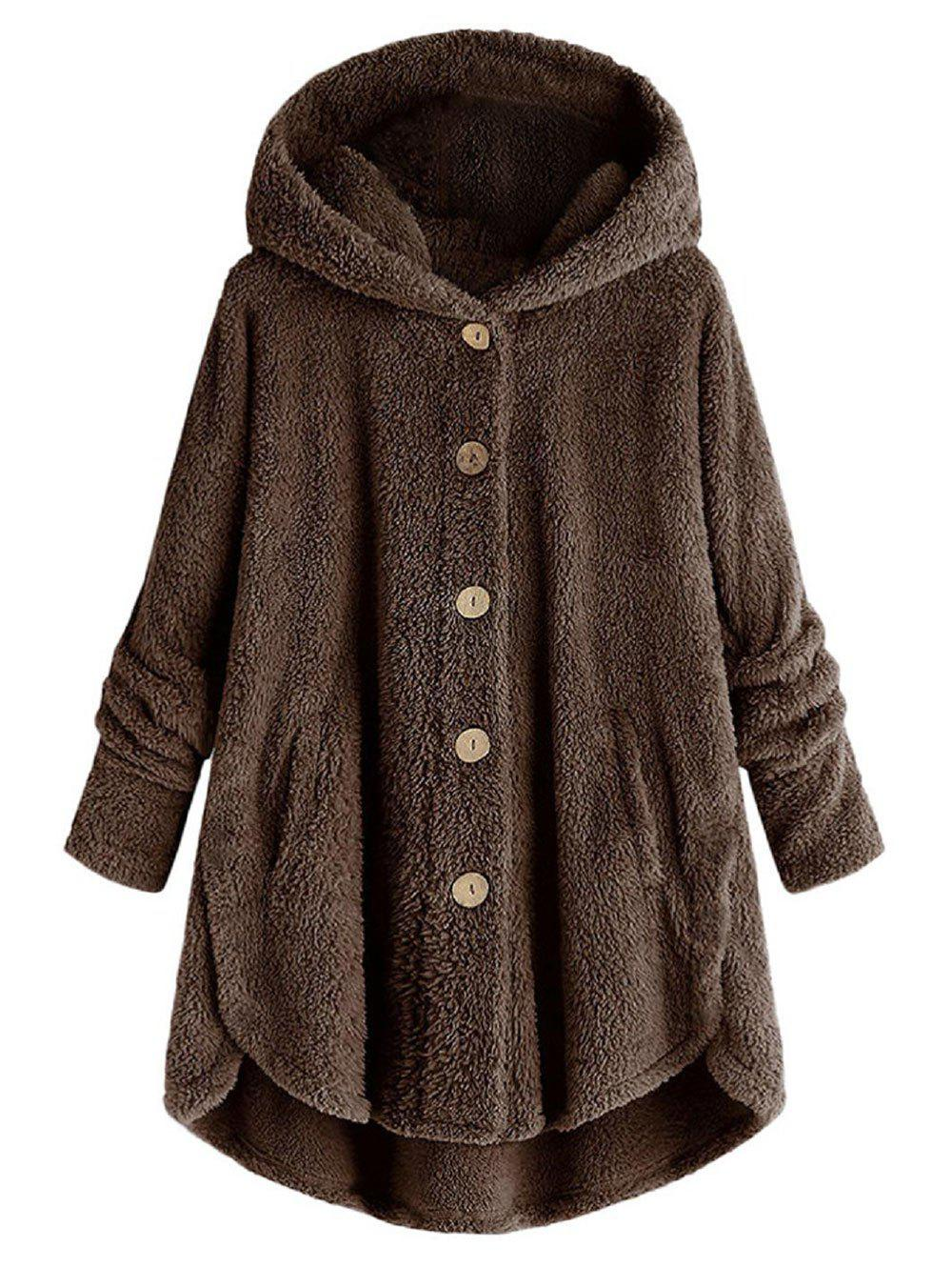 Hooded Fluffy Plus Size High Low Teddy Coat - BROWN 3X