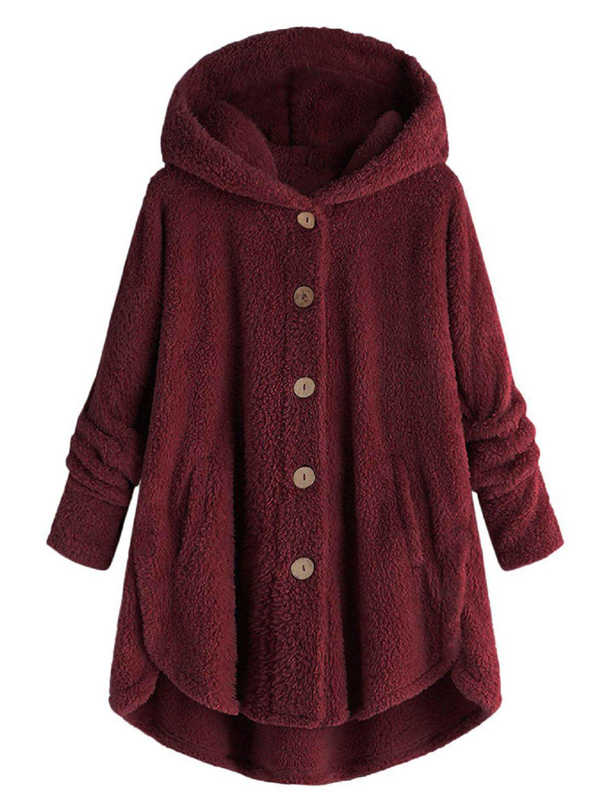 Hooded Fluffy Plus Size High Low Teddy Coat - RED 3X