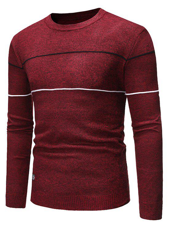Stripe Graphic Casual Pullover Sweater - RED WINE S