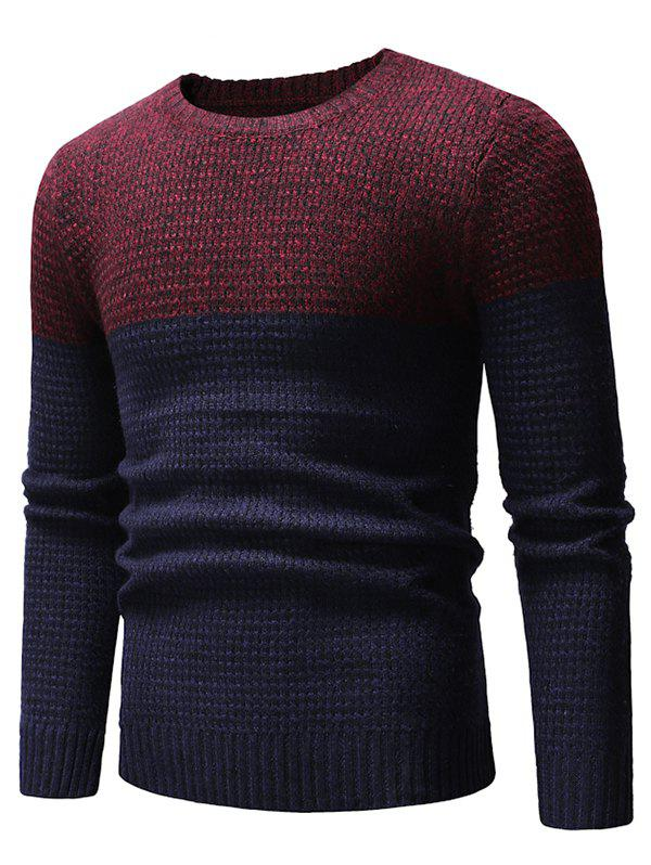 Two Tone Splicing Casual Pullover Sweater - RED WINE M