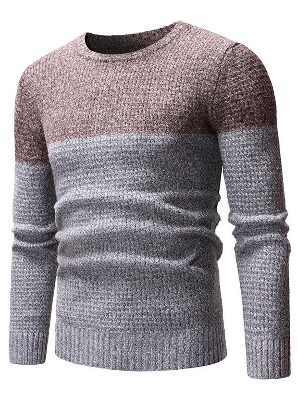 Two Tone Splicing Casual Pullover Sweater - GRAY XS
