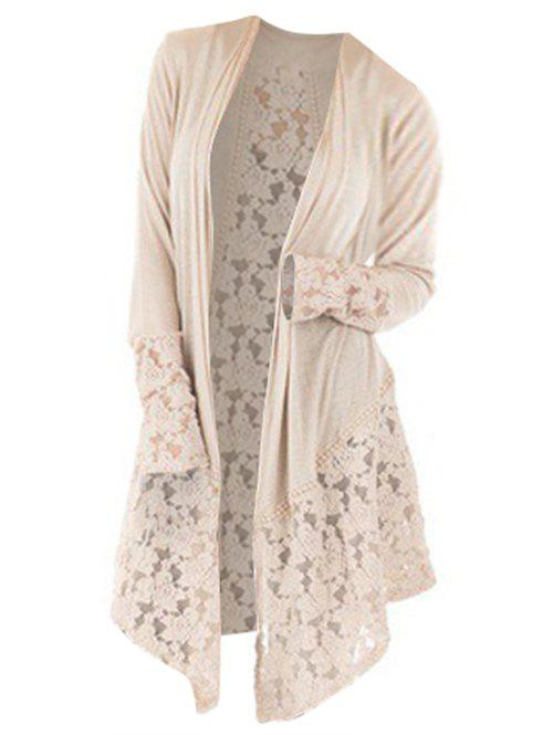 Plus Size Lace Insert Open Front Cardigan - VANILLA 4X