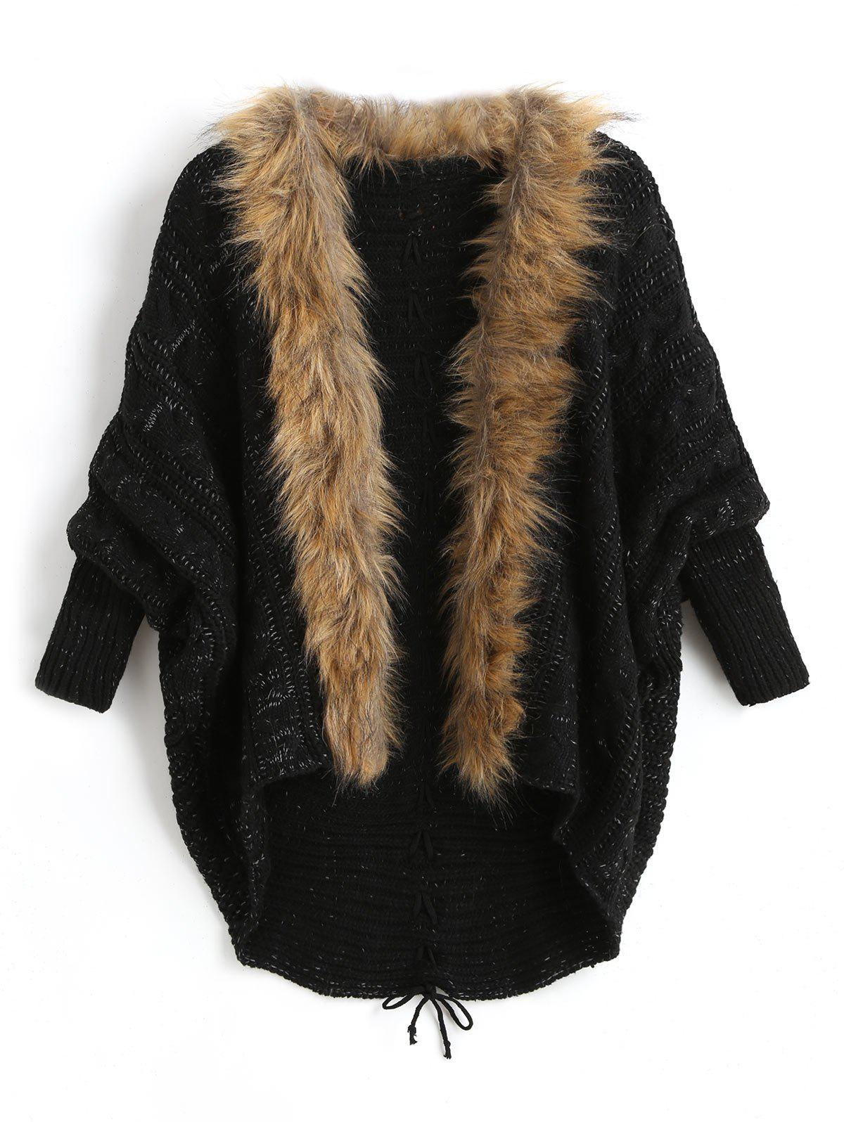 Plus Size Batwing Sleeve Faux Fur Lace Up Chunky Cardigan - BLACK ONE SIZE