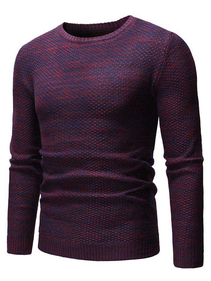 Round Neck Casual Heathered Sweater - RED WINE M