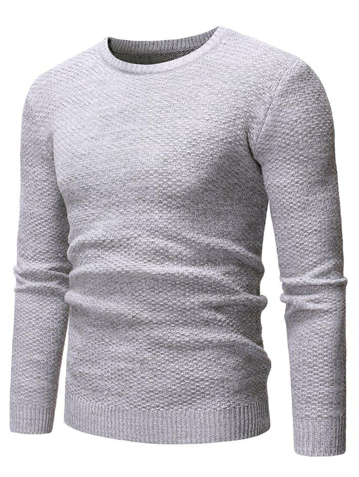 Round Neck Casual Heathered Sweater - GRAY XS