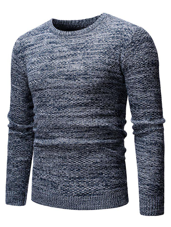 Round Neck Casual Heathered Sweater - CADETBLUE XS
