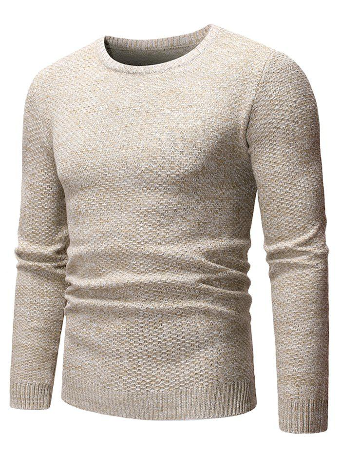 Round Neck Casual Heathered Sweater - APRICOT S