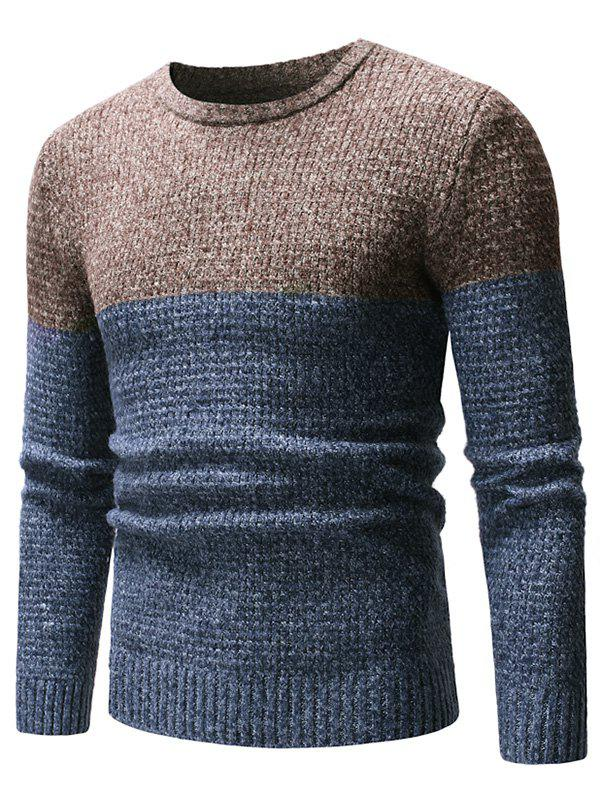 Two Tone Splicing Casual Pullover Sweater - CADETBLUE XS