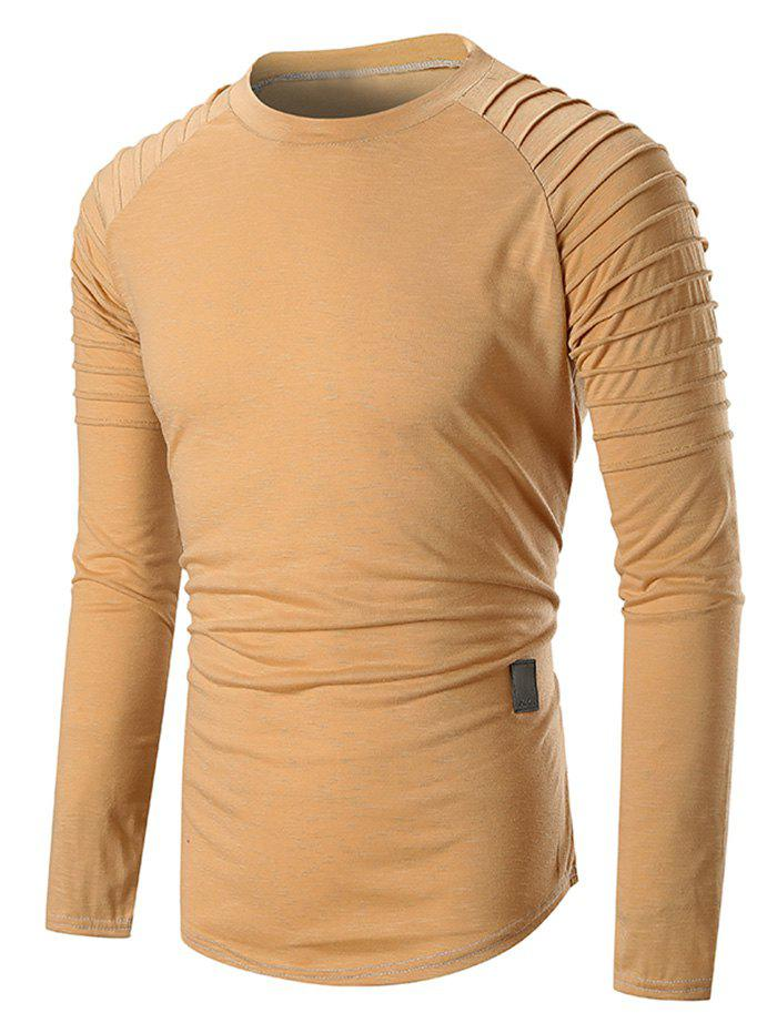 Pleated Raglan Sleeve Curved Hem Long Sleeve T-shirt - KHAKI M