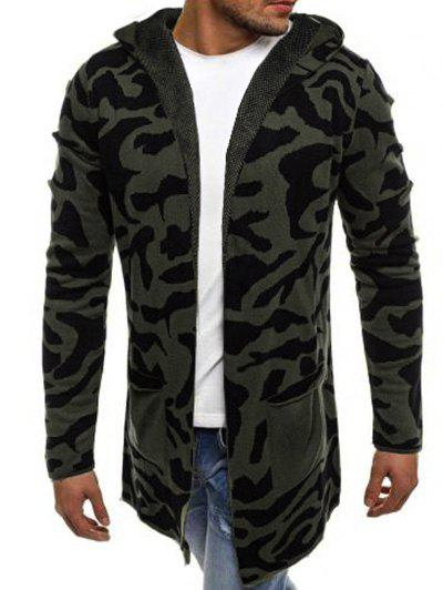Camouflage Graphic Splicing Pocket Hooded Cardigan - ARMY GREEN S