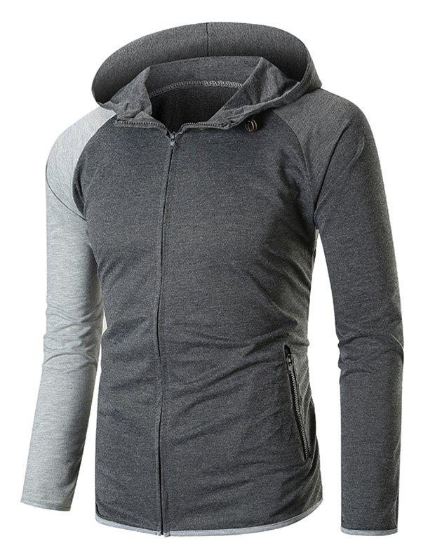 Color Blocking Contrast Trim Raglan Sleeve Zip Up Hoodie - DARK GRAY 3XL
