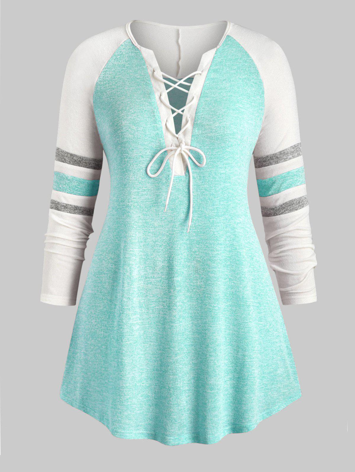 Plus Size Lace Up Heathered Striped Longline Tee - GREEN 4X