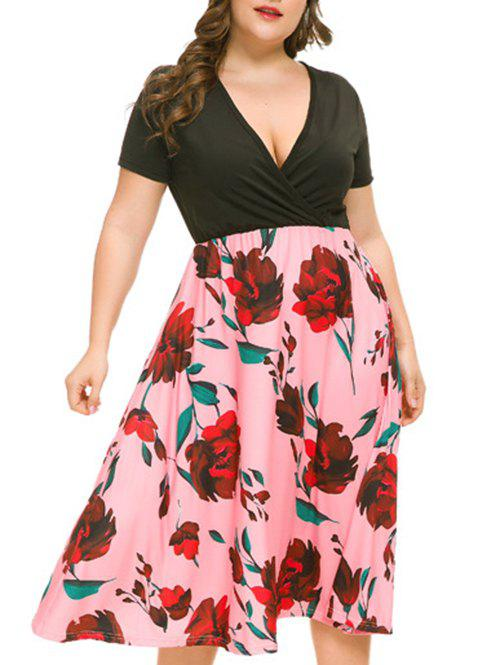 Plus Size Floral Plunging Midi Dress - PINK 5X
