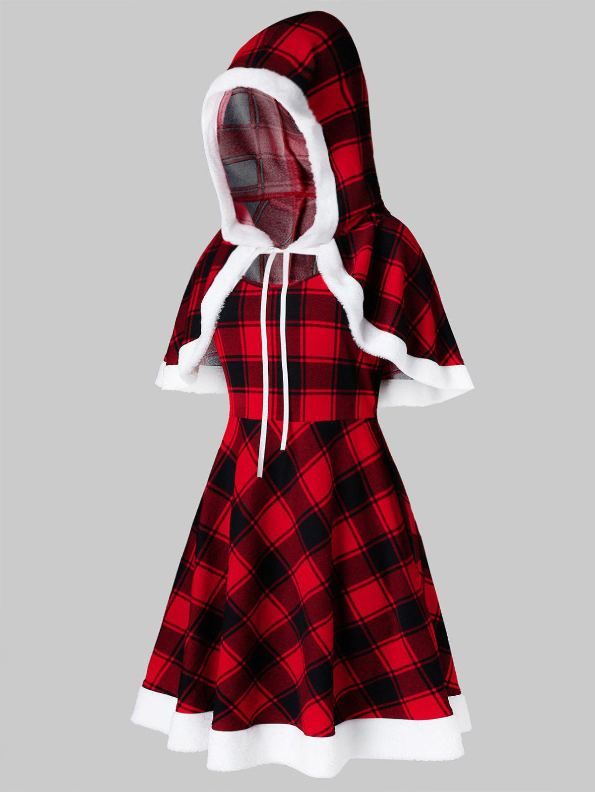 Plus Size Christmas Plaid Hooded Capelet and A Line Dress Set - RED L